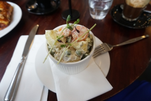 I'm a sucker for Russian Potato Salad and this one was delish with pea tendrils on top.